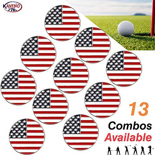 kaveno Golfballmarker, Verschiedene Designs, 5/10/20 Stück, USA Flag - 10PCS -