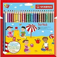 STABILO Trio - Étui carton de 24 crayons de couleur triangulaires + taille-crayon