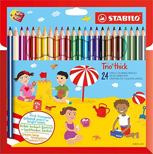 Dreikant-Buntstift - STABILO Trio dick - 24er Pack - mit 24 verschiedenen Farben und Spitzer