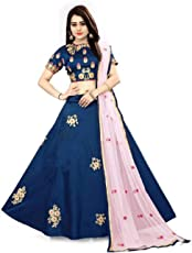 Kajalfashion Women's silk Lehanga Choli (X_459 _Blue_ free size)