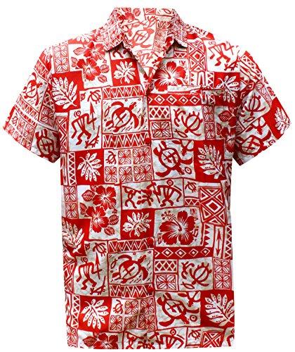 LA LEELA männer Hawaiihemd Kurzarm Button Down Kragen Fronttasche Beach Strand Hemd Manner Urlaub Casual Herren Aloha Rot_238 7XL Likre A_121 - Winter Mantel 5x Herren