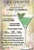 Cocktails Rezept Recipe Grasshopper Creme de Menthe Cacao Schild aus Blech, metallsign, Tin