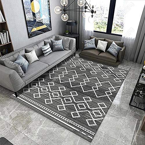 ZGYZ Moderner Teppich für Wohnzimmer und Schlafzimmer - Graue und gelbe Farbe Short Hair Rug Design,B,120×160