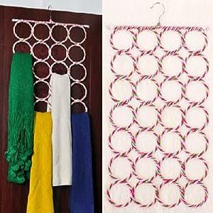 Museya Neuheit faltbar 28-anneau umweltfreundliche Papier rotin Schal cintre cravate Halter Handtuchhalter (zufällige Farbe)