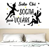 """Adesivo da parete in vinile con frase in italiano""""SOLO CHI SOGNA"""" adesivi murali frasi in italiano citazione, decorazione da"""