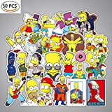 Debon Gepäck Tags Aufkleber Die Simpsons Familie Aufkleber Aufkleber Label für Autos PC iPad Bumper Skateboard Helm Auto Fahrräder Ride Patches Truck Funny Cartoon wasserdicht Abnehmbare Wandaufkleber Geschenk für Kid