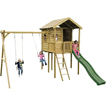 Gate Lodge Outdoor Childrens Wooden Swing Set Climbing Frame ...