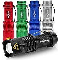 Cree Mini Linterna LED de Mano [5 Unidades] 300 Lúmenesde Potencia, 3 Modos de Iluminación ( Potente – Suave – Estroboscópica), Foco Ajustable Luz Zoomable – Q5