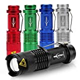 5 Stück Mini Cree Q5 Led Taschenlampe Torch 300 Lumen 3 Modi (Licht - Low-Light - Strobe) einstellbarer Fokus zoombare Led