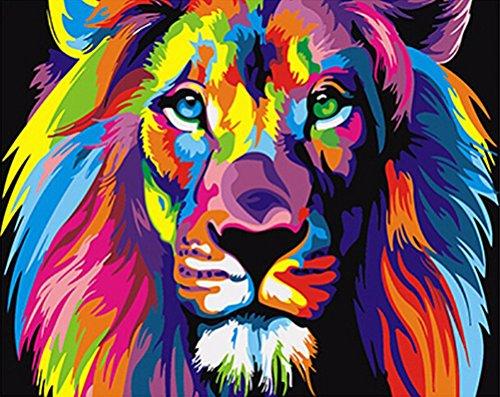 Sans Cadre éléphants Paysage DIY Digital Peinture sur toile de peinture par numéro, Toile, Colorful Lion, Unframed