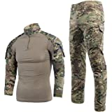 Men's Tactical Suit Combat Shirt and Pants Set Long Sleeve Ripstop Multicam Airsoft Clothing Woodland BDU Hunting Military Un