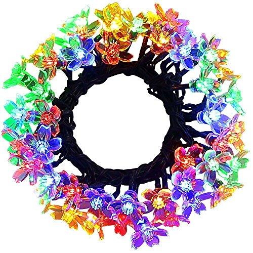 easyDecor Solar Lichterkette 50 LED 23ft 8 Modi Blüte Blumen Garten Weihnachtsbeleuchtung für Beleuchtung Draußen drinnen Party Hochzeit Patio Urlaub Dekorationen (Mehrfarben)