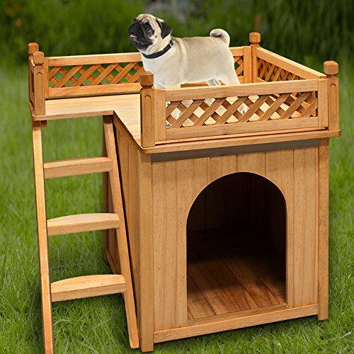 Hundehütte SONNENTERRASSE Hundehaus Tierhaus Hundehöhle Hund Holz Box Garten NEU