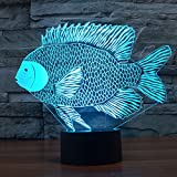 3D Optische Illusions-Lampen Niedlichen Fisch Modell LED Nachtlichter, FZAI Touch Tischlampe Haus Dekoration 7 Farben Einzigartige Lichteffekte zum Kinder Weihnachtsgeschenk