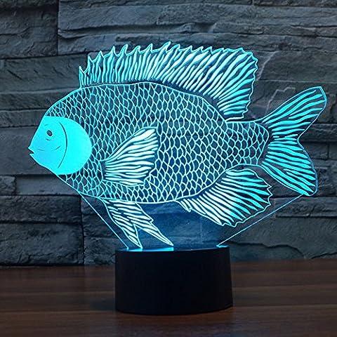3D Optische Illusions-Lampen Niedlichen Fisch Modell LED