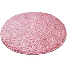 Alfombra de baño redonda (, 65cm de diámetro, 15mm flor, antideslizante, Alfombrilla de baño, cama Alfombrilla, Rosa, 65 cm