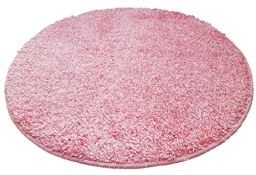 Resibano tappetino da bagno, rotondo, 65cm diametro, 15mm flor, antiscivolo, tappetino da bagno, tappeto scendiletto, rosa, 65 cm