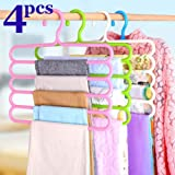 FreShine 5 Layer Pants Clothes Hanger Wardrobe Storage Organizer Rack (Set of 4), 32l x 1b x 33h cm (Assorted Colour) (4…