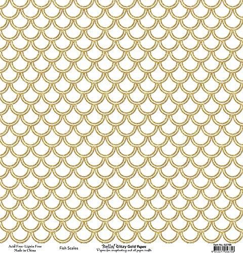 Fynmark Bella! Glitzy Gold Single-Sided Glitter Cardstock 12