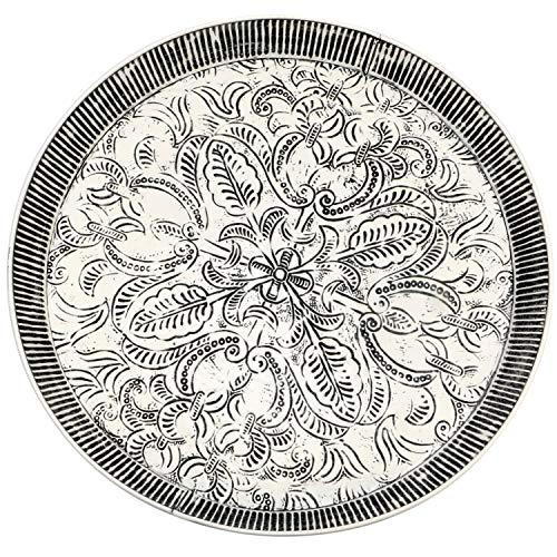 Orientalisches rundes Tablett aus Metall Animata 56cm | Marokkanisches Teetablett in der Farbe Weiss | Orient Tablett schwarz verziert | Orientalische Dekoration auf dem gedeckten Tisch -