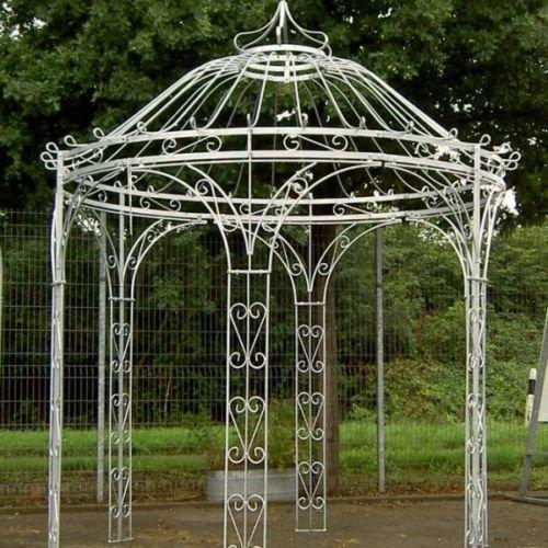 Gartenpavillon, Metallpavillon, Eisen Pavillon, Rankpavillon, Pavillon Stabil Amalia Ø 250 cm (Eisenblank)
