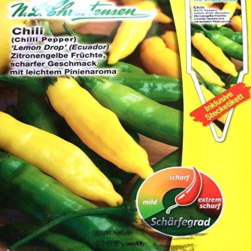 Chrestensen Gewürzpaprika / Chili 'Lemon Drop (Ecuador)' Saatgut Samen