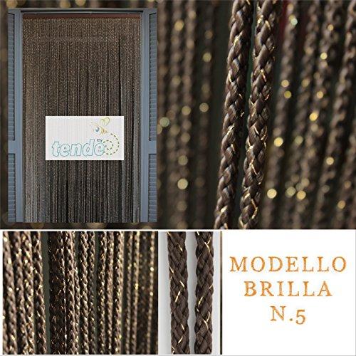 Cortina mosquitera - Modelo BRILLA - Medidas estándar - Cortina de la puerta - Fácil de limpiar - (90X200, MARRON 5)