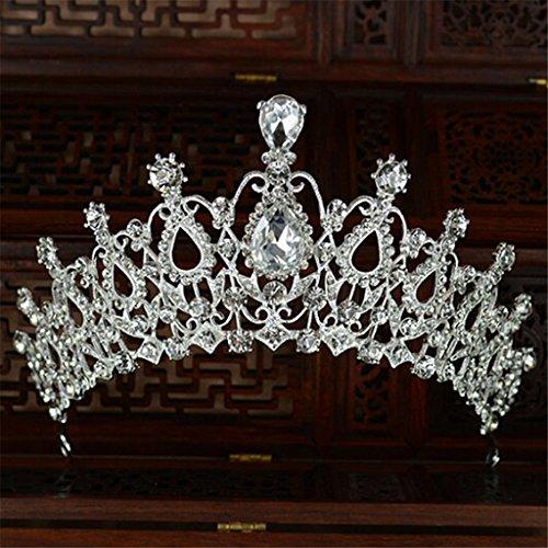 LnLyin Luxus krone voller Diamant Braut Crown Hochzeit Stirnband Barock Modelle Haarkrone (Pairing Kostüm)