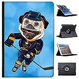 Eishockey Mops mit Schlittschuhen & Schläger Case Cover / Folio aus Kunstleder für das Apple iPad Pro 10.5