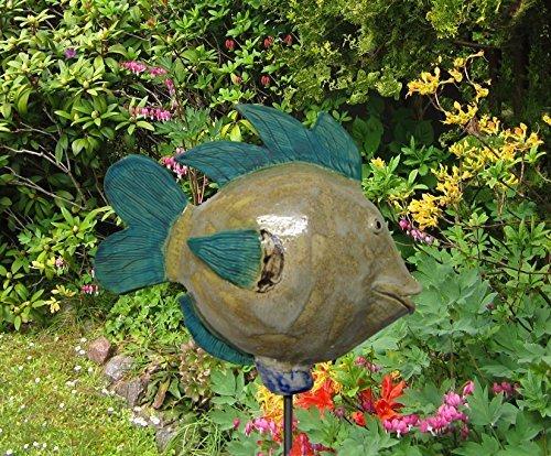 Garten Dekoration Fisch Keramik Dero türkis, sand, Größe: ca 23 cm hoch, ca 31 cm lang, ohne Eisenstange -