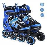 INTEY Inline Skates für Kinder, Verstellbare Inline Skating Geeignet für Alles Kinder, 3 Größe, Blau (L)