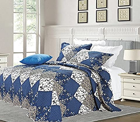 Luxury 3 Piece Patchwork Quilt Throw Bedspread Reversible Vintage Flower Embroidered Bedspread Bedding Set (Double (220 x 240 CM), Blue