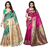 Voila Women's Khadi Jute Silk & Kalamkari Silk Sarees Combo (Pack of 2) (Pink, Sea Green)