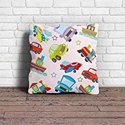 Cushion Cover | Car Print Cushion Cover With Filler | Poly Cotton Cushion Cover For Kids Room Dcor- 1 Piece ( 12 x 12 Inch)