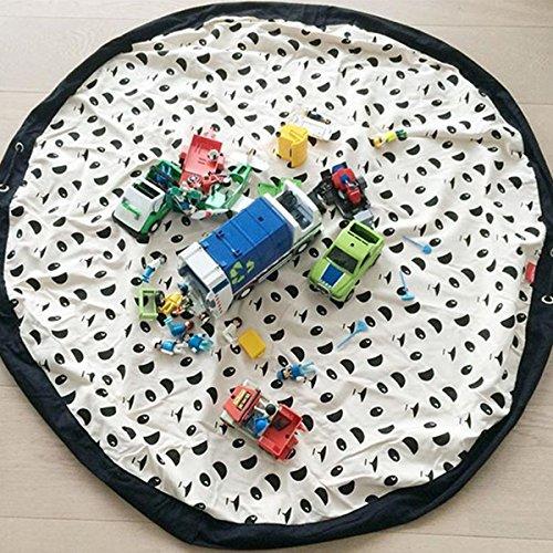 Jeteven Rund 140cm Aufräumsack Spieldecke kinder Spielzeugsack aus Leinwand, Panda
