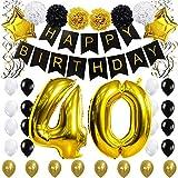 Kit di Decorazioni per Feste di Compleanno 40 °-'HAPPY BIRTHDAY' Banner Nero, 40 Pollici Palloncino '40' d'oro, Turbinii Sospesi, Fiori di Carta, Palloncini di Stelle e Lattice, Materiali per Feste di Classe per 40 anni di KUNGYO