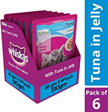Whiskas Wet Cat Food, Tuna in Jelly for Kittens, 85 g (Pack of 6)