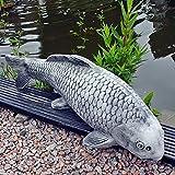 Steinfigur Koi Fisch Steinkoi 63 cm grau Deko Garten Tierfigur Gartenfiguren Steinguss Frostfest