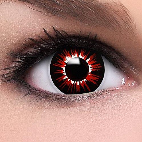 Farbige Kontaktlinsen 'Zombie Luna' in schwarz & rot & weiß, weich ohne Stärke, 2er Pack inkl. Behälter und 10ml Kombilösung - Top-Markenqualität, angenehm zu tragen und perfekt zu Halloween oder Karneval (15 Monats Halloween Kostüme)