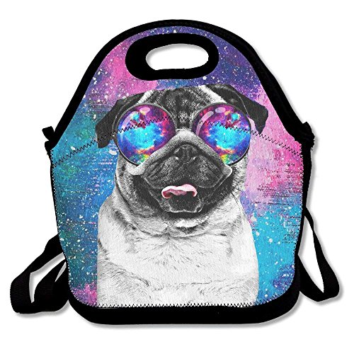 Galaxy Pug With Cool Glass Lunch Bag Tote Handbag Lunchbox Food Container Tote Cooler Warm Pouch For School Work Office