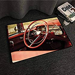 Cars Decor Modern door mat Interior of an Antique Classic Car with Exquisite Control Board Details Retro Picture Antifouling W16