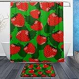 jstel rot Erdbeeren mit Blatt 3-teiliges Badezimmer Set, maschinenwaschbar für den täglichen Gebrauch, inkl. 152,4x 182,9cm Wasserdicht Duschvorhang, 12Dusche Haken und 1rutschfeste Badezimmer Teppich Carpet–Set