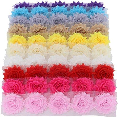 5 Stück Boutique Shabby Chic Stoff Rose Blumen Trim DIY Chiffon ausgefranste Tüll Blume 10 Farben / set (15 Farben für wählen) (Diy Tüll Blumen)