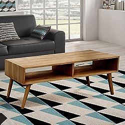 Hogar24.es-Mesa de centro de salón, diseño vintage, dos compartimentos, madera maciza natural, fabricación artesanal. 120 cm x 50 cm x 48 cm