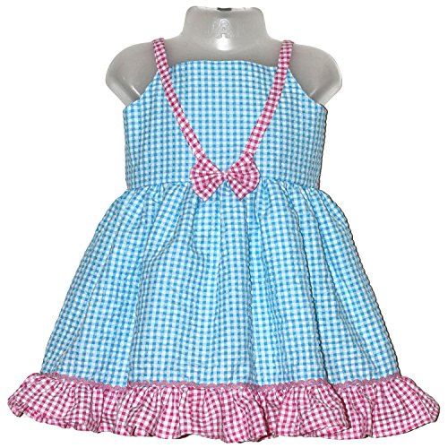 Mom's Girl blue checks and pink frills and bow frock(1-2 years)
