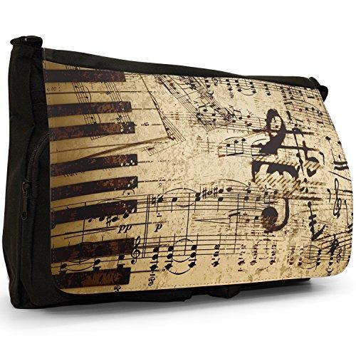 Vintage Musiknoten auf altem Papier Große Messenger- / Laptop- / Schultasche Schultertasche aus schwarzem Canvas