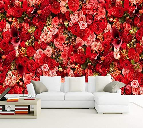 Lxsart Red Rose Sea Bouquet Thema Wohnzimmer Hintergrund Wand HD Benutzerdefinierte 3d Wallpaper Valentine Party Wandbild Schlafzimmer-350cmx245cm (In Los Angeles City Party)