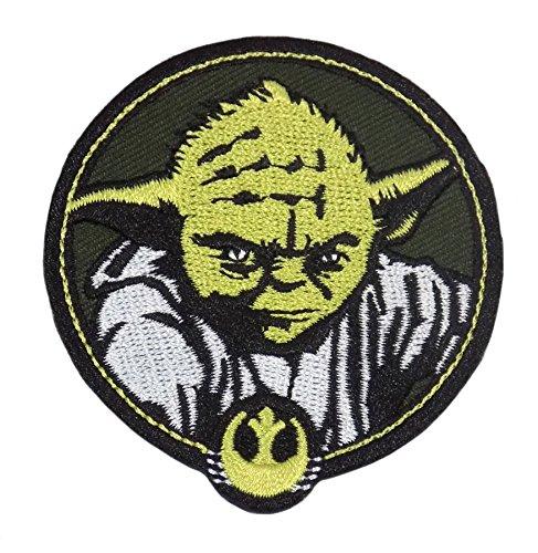 Star Wars Yoda Cercle Doré Vert Noir Argent Embroidered Iron on Applique