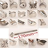 Malayas 20PCs Leather Different Shape Stamp Punch Set Saddle Making Tools for Leather