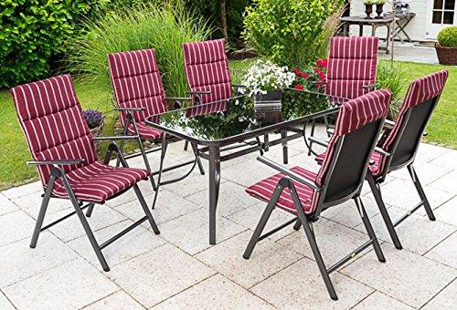 Merxx Gartenmöbel-Set Wien Set 13-teilig inkl. Auflagen weinrot/weiß, Tisch 150 x 80 cm